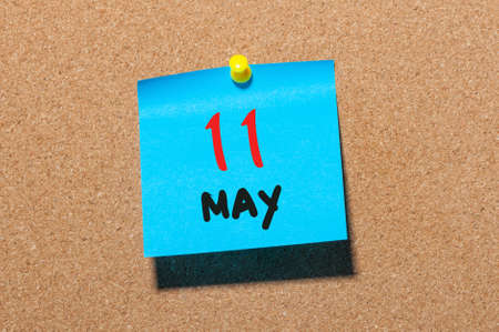 11th: May 11th. Day 11 of month, calendar on cork notice board