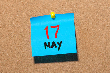 17th: May 17th. Day 17 of month, calendar on cork notice board