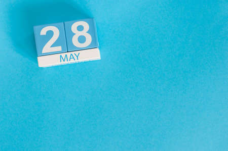 May 28th. Image of may 28 wooden color calendar on blue background. Stock Photo