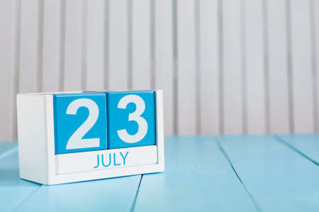 20 23 years: July 23rd. Image of july 23 wooden color calendar on white background.
