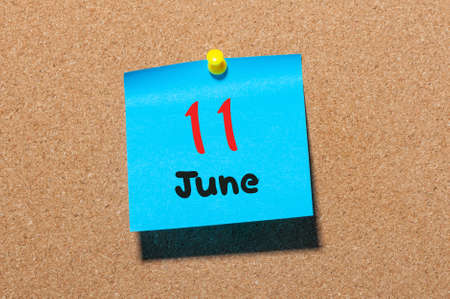 11th: June 11th. Day 11 of month, color sticker calendar on notice board. Stock Photo