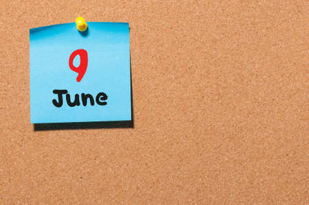 9th: June 9th. Day 9 of month, color sticker calendar on notice board. Stock Photo