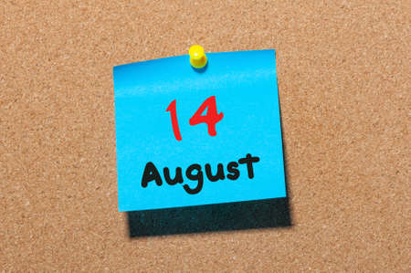 notice board: August 14th. Day 14 of month, color sticker calendar on notice board. Summer time. Empty space for text.
