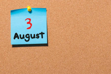 notice board: August 3rd. Day 3 of month, color sticker calendar on notice board.