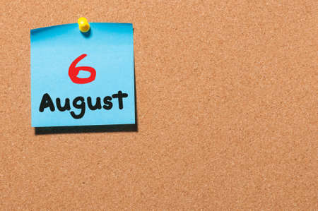 six year old: August 6th. Day 6 of month, color sticker calendar on notice board. Stock Photo