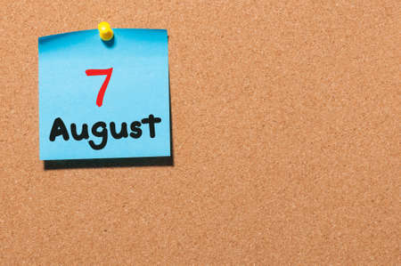 notice board: August 7th. Day 7 of month, color sticker calendar on notice board. Stock Photo