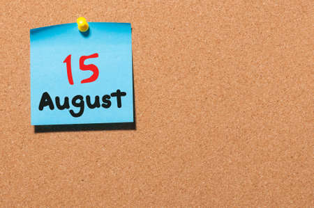 number 15: August 15th. Day 15 of month, color sticker calendar on notice board. Stock Photo