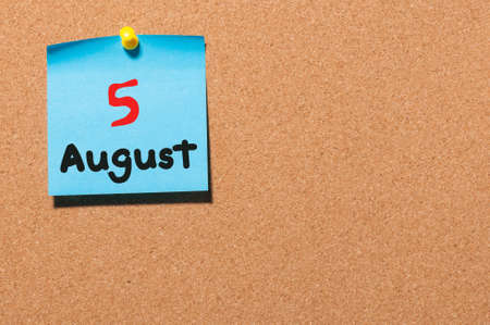 notice board: August 5th. Day 5 of month, color sticker calendar on notice board. Summer time. Empty space for text.