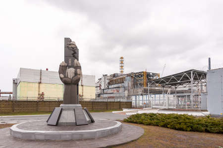 Chernobyl Exclusion Zone, Ukraine. view on fourth power generating unit. Resquers memorian near the Nuclear Power Plant.