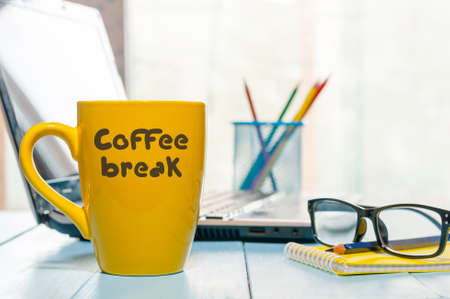 repose: Coffee Break Relaxation Rest Relief Repose Concept. Morning hot drink cup on home or business office background.