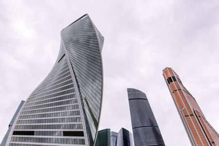MOSCOW - MAY 21, 2017: Low angle view of Moscow-City skyscrapers. Moscow-City International Business Center is a commercial district in central Moscow.