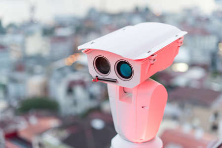 Security camera detects the movement of traffic and terrorist threat. The concept of security and the prevention of terrorism
