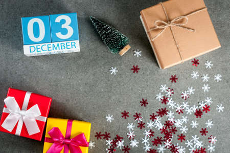 December 3rd. Image 3 day of december month, calendar at christmas and new year background with gifts Banco de Imagens