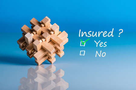 Insure concept. Survey with question Insured. Yes or no. Car, life insurance, home, travel and healt insurance