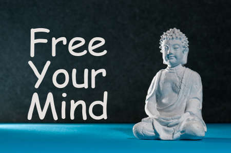 Free your mind - motivating text with white statuette of Buddha. Yoga and meditation concept