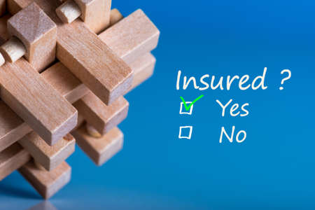 concept of insurance. brain teaser with question - Insured. and two answers - Yes or No
