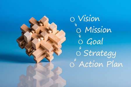 Illustration of business concept vision - mission - strategy - action plan on blue background with wooden brain teaser Banque d'images