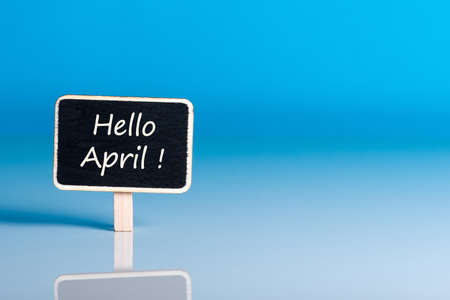 Hello April sign with blue background and empty space for text, mockup or template