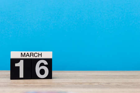 March 16th. Day 16 of march month, calendar on light blue background. Spring time, empty space for text, mockup Stockfoto