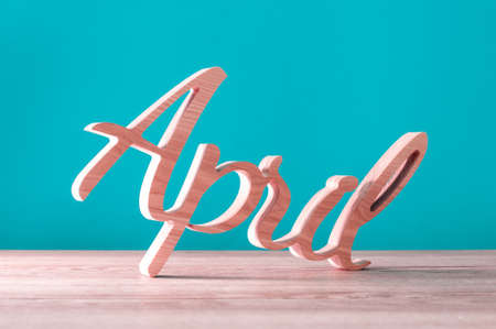 Hand Carved Wooden Letters As April Word 1st Day Of April Concept