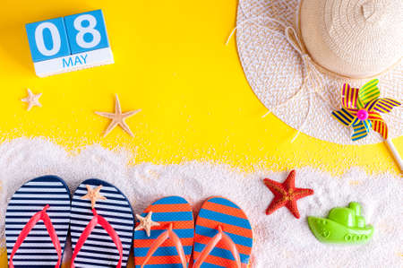 May 8th. Image of may 8 calendar with summer beach accessories. Spring like Summer vacation concept