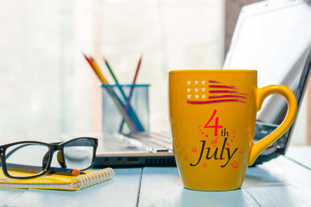 Independence Day Of America, USA. July 4th. Image of july 4 calendar on office background. Summer day. Empty space for text