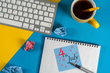 July 4th. Image of july 4 calendar on office work desk with morning coffee cup background. Summer day. Independence Day Celebration.