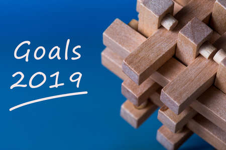 Goals 2019 memo about targets, goal, dreams and New Years promises for the next year Banque d'images