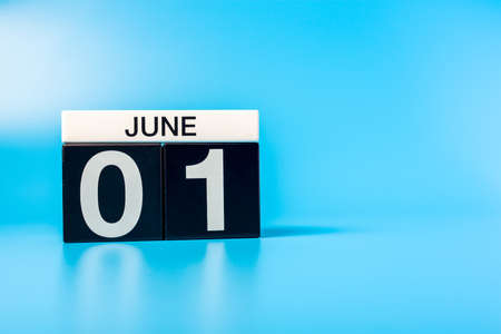 June 1st. Image of june 1 calendar on blue background. First summer day. Happy Childrens Day 写真素材