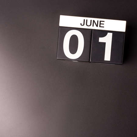June 1st. Image of june 1 calendar on black background. First summer day. Happy Childrens Day. Empty space 写真素材