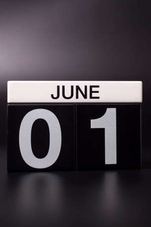 June 1st. Image of june 1 calendar on black background. First summer day. Happy Childrens Day 写真素材