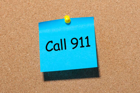 Call 911 - note pinned at corkboard. Concept of healthy life