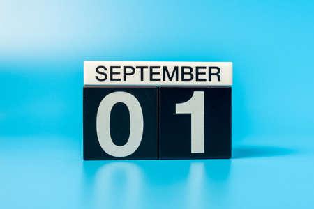 1st September. Image of september 1, calendar on blue background. Back to school concept