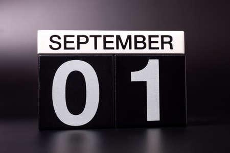 1st September. Image of september 1, calendar on black background. Back to school concept