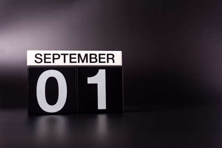 1st September. Image of september 1, calendar on black background with empty space. Back to school concept