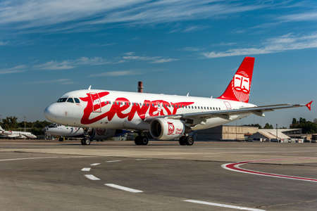 KYIV, UKRAINE - SEPTEMBER 10, 2019: Ernest Airways plane landed at airport. Italian cheap airlines, low-cost air carrier