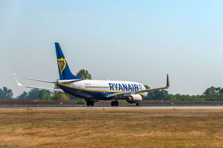 KYIV, UKRAINE - SEPTEMBER 10, 2019: Preparing for take-off Ryanair plane. Ryanair is the biggest low-cost airlines 報道画像