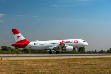 KYIV, UKRAINE - SEPTEMBER 10, 2019: Austrian Airlines Airbus A320 passenger plane takes off at airport.