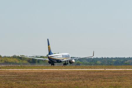 KYIV, UKRAINE - SEPTEMBER 10, 2019: Preparing for take-off Ryanair plane. Ryanair is the biggest low-cost airlines 報道画像
