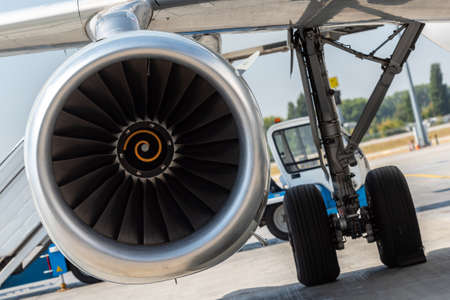 Aircraft jet engine detail in the exposition. Turbine Engine Profile. Aviation Technologies. Airport background Stockfoto