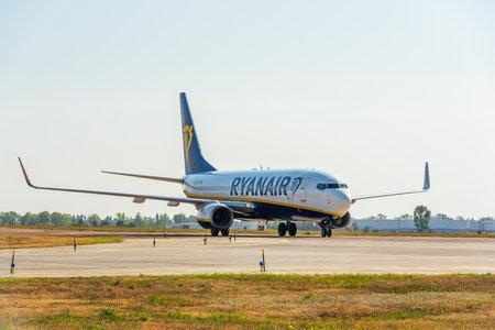 KYIV, UKRAINE - SEPTEMBER 10, 2019: Preparing for take-off Ryanair plane. Ryanair is the biggest low-cost airlines