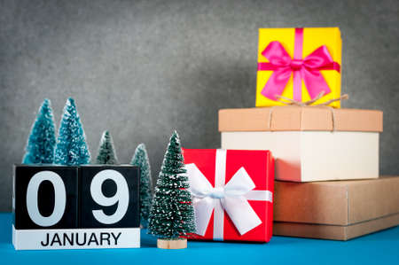 January 9th. Image 9 day of january month, calendar at christmas and new year background Banque d'images