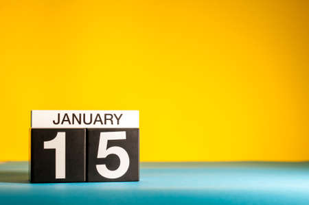 January 15th. Day 15 of january month, calendar on yellow background. Winter time. Empty space for text Stock Photo