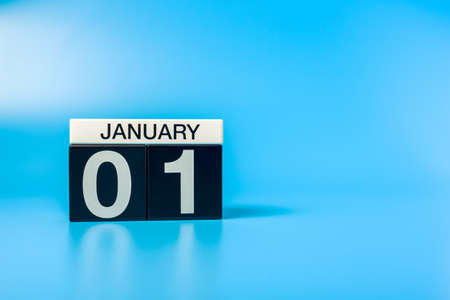 New year. January 1st. Day 1 of december month, calendar on blue background. Winter time