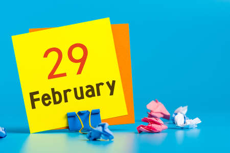 February 29th. Calendar for February 29 on workplace. Leap year, intercalary day, bissextile Banco de Imagens