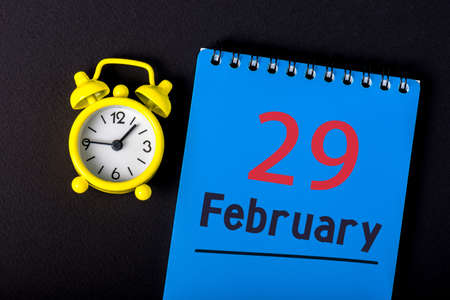 February 29th. Calendar for February 29 on workplace. Leap year, intercalary day, bissextile Stock fotó - 138469020