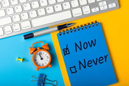 Fighting procrastination concept - check-box with call to act Now or never, Do it now Stock fotó