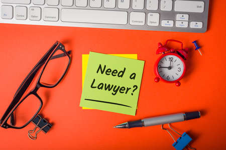 Need a Lawyer - legal specialist, attorney at law and justice, law and justice concept. Foto de archivo