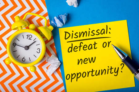 Dismissal - defeat or new opportunity - question. illustration for motivational article on unemployment and job search