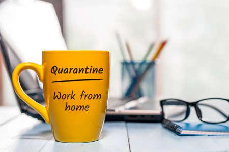The office is Quarantined, advice to work from home . Pandemic Covid-19 Coronavirus quarantine concept. 版權商用圖片